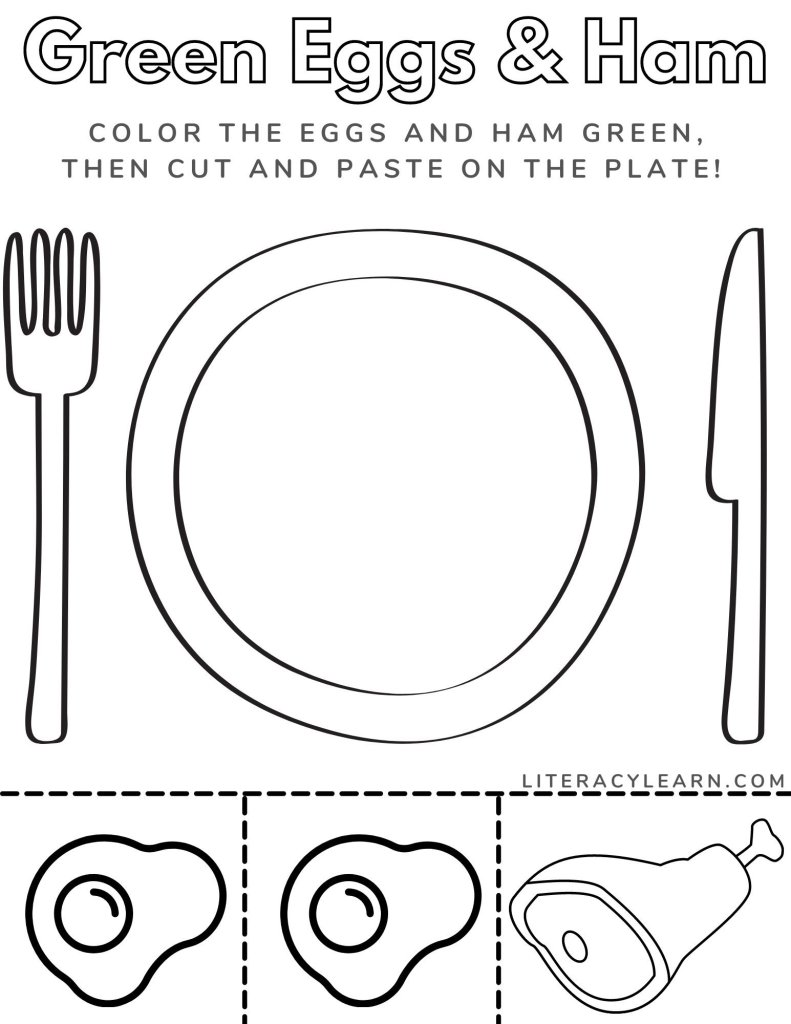 Printable worksheet with a large plate, two eggs, and ham for children to color and cut and paste.