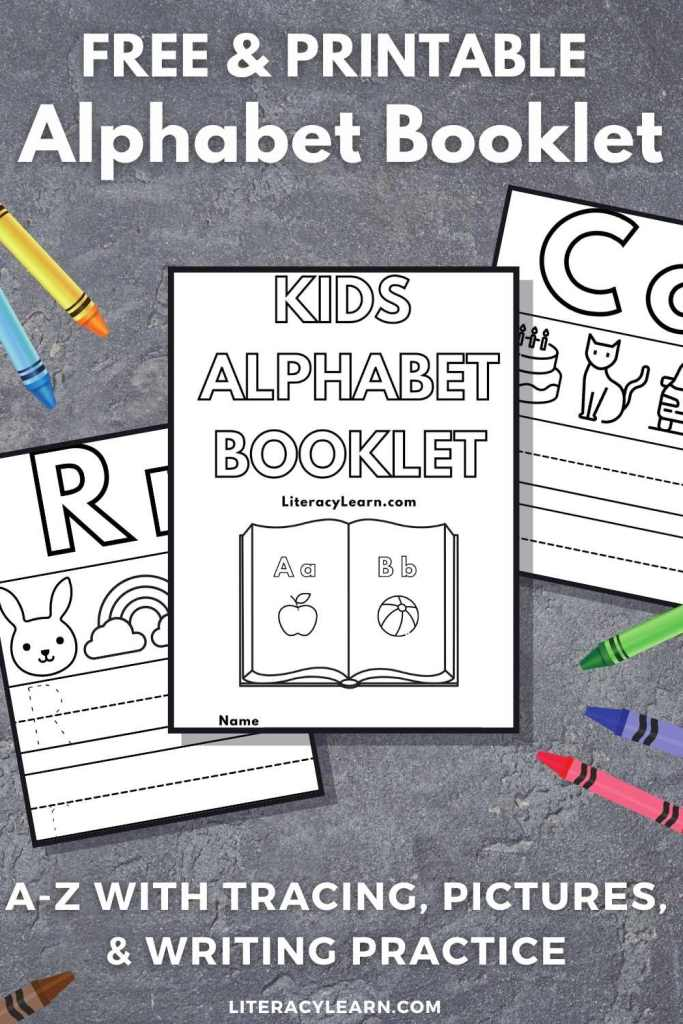 """Graphic with three pages from the alphabet booklet on a gray background with the words """"Free and Printable Alphabet Booklet"""" for Pinterest."""