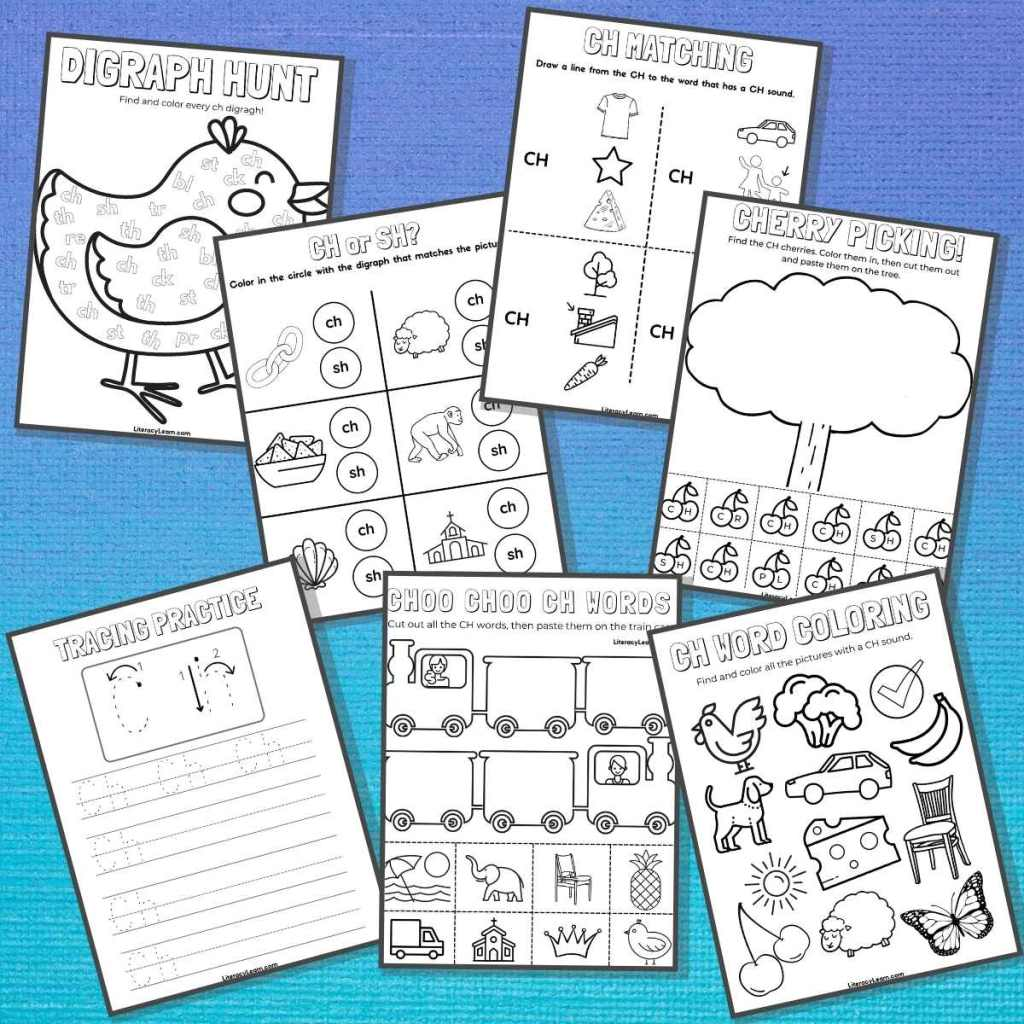 All 7 ch digraph worksheets spread out on a blue background.