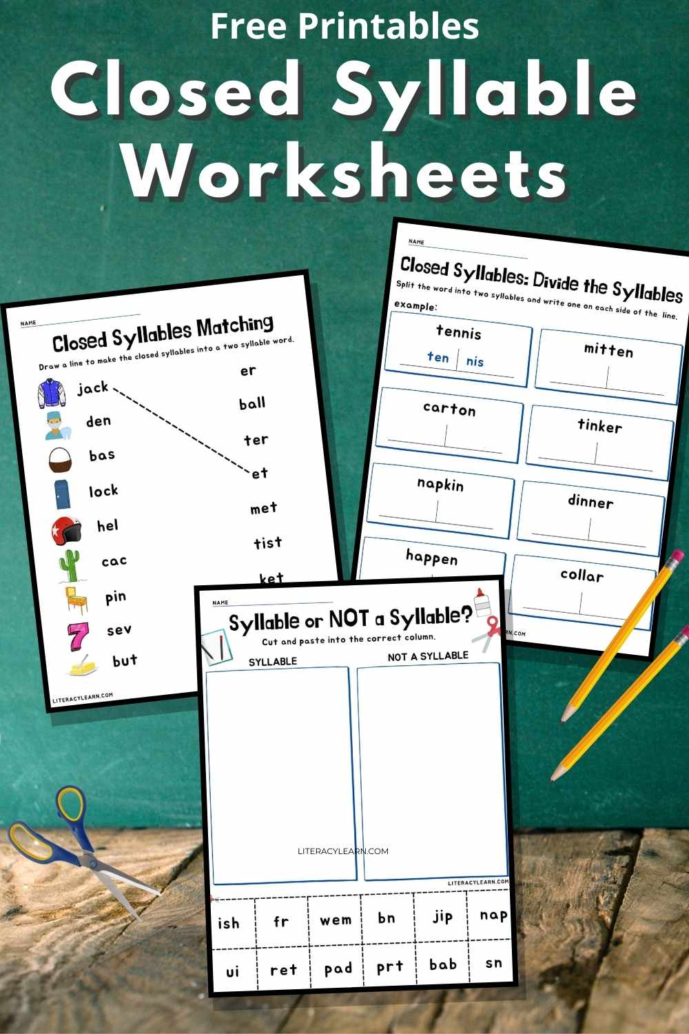 """Three worksheets on a green background with the text, """"Free Printables Closed Syllable Worksheets."""""""