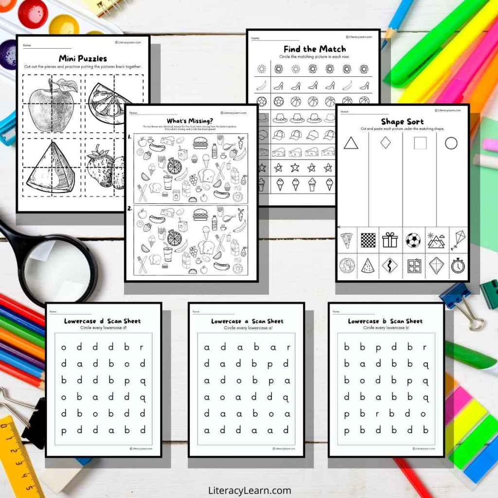 Graphic with 7 visual discrimination worksheets on a white background with brightly colored pencils, crayons, and more.