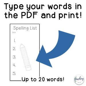 editable spelling list
