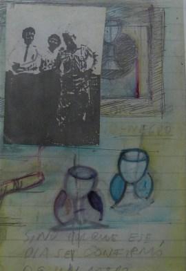 """Omar Moreno. Título: Serie """"Los Cuadernos de Nicanor Schiaffini"""". Medidas: 60 cm x 50 cm. Técnica: Grabados y dibujos sobre planchas litográficas de segunda."""
