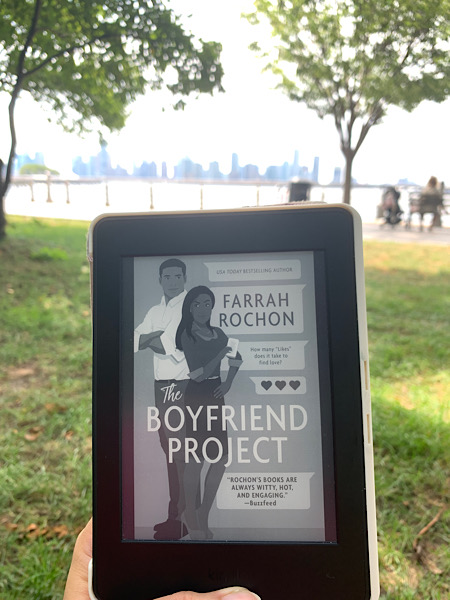 Reading The Boyfriend Project in Hudson River Park