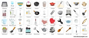 kitchen utensils with images