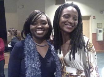 Author Chika Unigwe with Frances Ohanenye