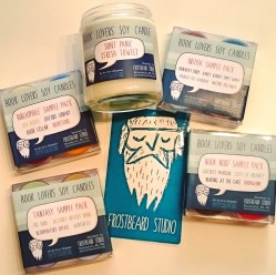 "#Happymail today!! Can't wait to try out these amazing Book Lover's Soy Candles by Frostbeard Studio! The big one is ""Don't Panic (Fresh Towel), just in time for today's #TowelDay! The others are the Bibliophile Sample Pack (scents: Old Books, Oxford Library, Book Cellar, Bookstore), British Sample Pack (scents: Sherlock's Study, Wibbly Wobbly Timey Wimey, Through the Wardrobe, Hatter's Tea Party), Fantasy Sample Pack (scents: The Shire, Wizardry Buttery Drink, Headmaster's Office, Winterfell) & Book Nerd Sample Pack (scents: Gatsby's Mansion, Cliffs of Insanity, Reading at the Café, Bookworm). #BookNerd #bottlethatscent ©theliteratigirl"