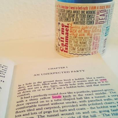#novbookstagram Day 3: Best Opening Line. Still my favourite! The #Hobbit. The first book I ever read in English cover to cover (with my vocabulary highlights to prove it)! #Tolkien #middleearth Mug with famous literary opening lines is from Literary Gift Company. #bookstagram #bookishmerch ©theliteratigirl