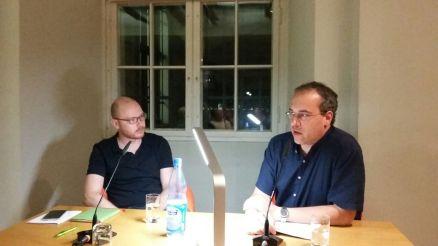 Christoph Wenzel und Patrick Wilden im Literaturforum Dresden. Foto: (c) C. Danne