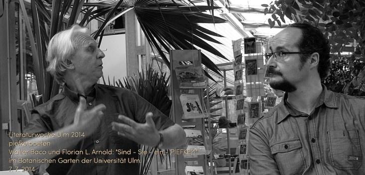 Baco (links) und Arnold (rechts): Zwischen Klischee-Hinrichtung und surrealen Einzelgängermonologen. Am 7. 7. 2014 im Botanischen Garten der Universität Ulm.