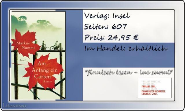 Literatwo: Am Anfang ein Garten ~ Markus Nummi