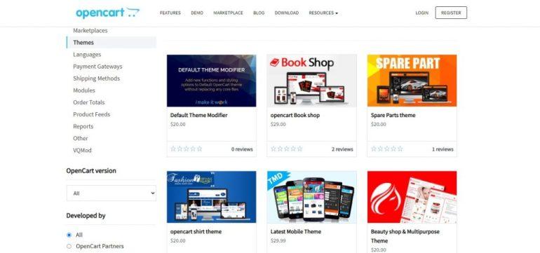 OpenCart themes gallery (OpenCart vs PrestaShop)