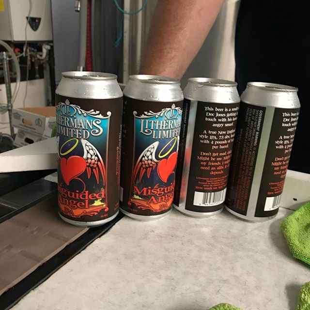 Fresh cans of Misguided Angel coming off the line! Tasting room opens at 4 PM.