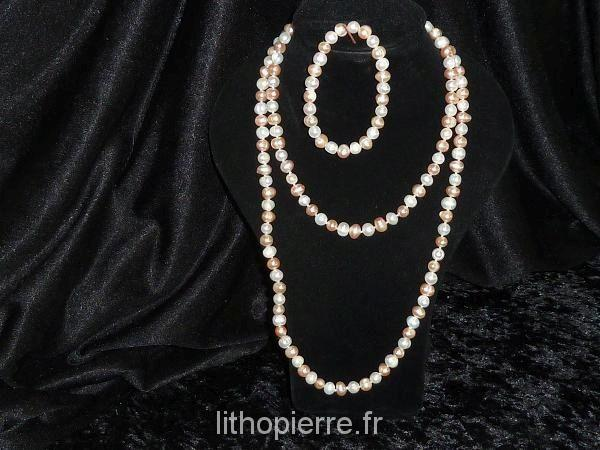 Parure collier et bracelet en perle