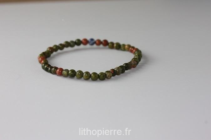 Bracelet en 4mm en pierre d'unakite
