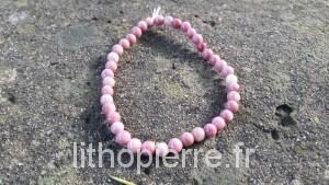 Bracelet en Rhodonite couleur rosée