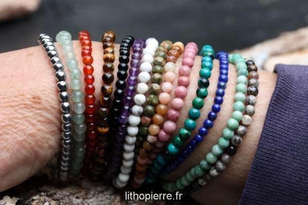 bracelets de pierres en 4mm de diamètre