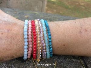 Lots de bracelets 4mm pierres rares
