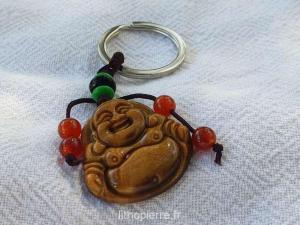 Porte clé boudha en oeil du tigre