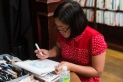 Kate Gavino of Last Night's Reading draws flash portraits