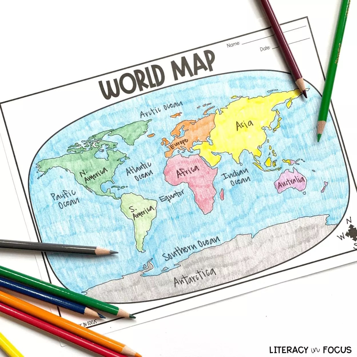 32 Printable World Map To Label