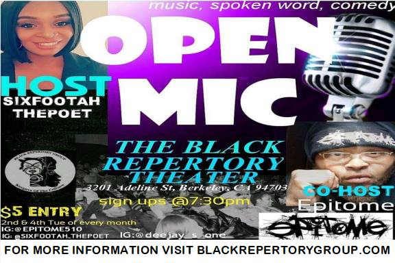 flier for Open Mic at the Black Rep