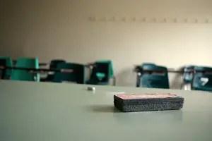 empty classroom chalk