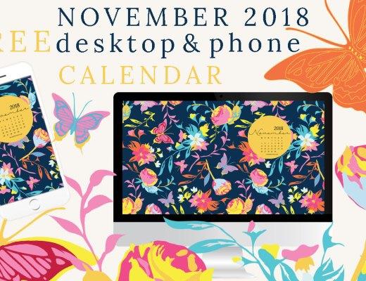 November 2018 desktop and phone calendar