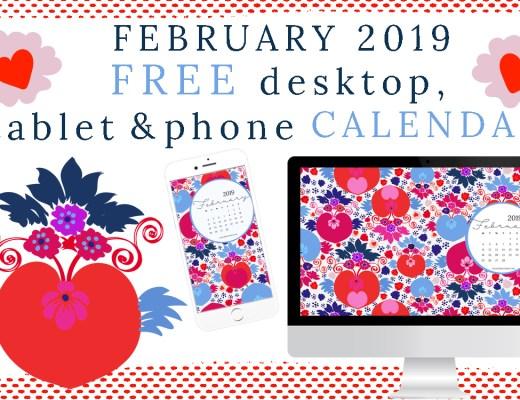 February 2019 Free desktop, tablet and phone calendar