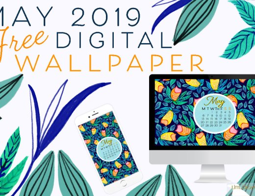 May 2019 free floral watercolor wallpaper by LittlCrow