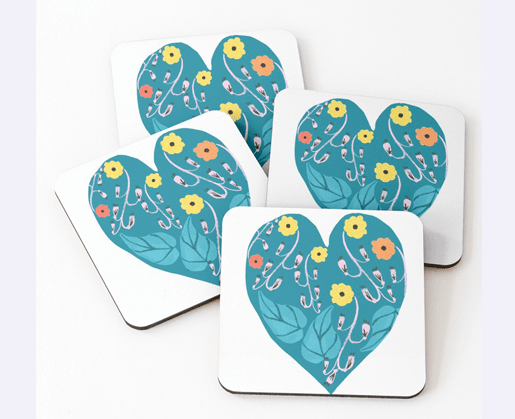 A heart shaped motif with yellow,red and orange flowers and aqua green leaves. Coasters (Set of 4)