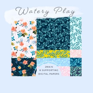 Watery Play Digital paper set by Jimena Garcia (Littlcrow)