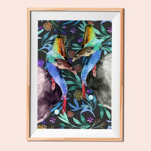 Cassowary Meet-Up Bird illustration 6 print by Jimena Garcia (LittlCrow)