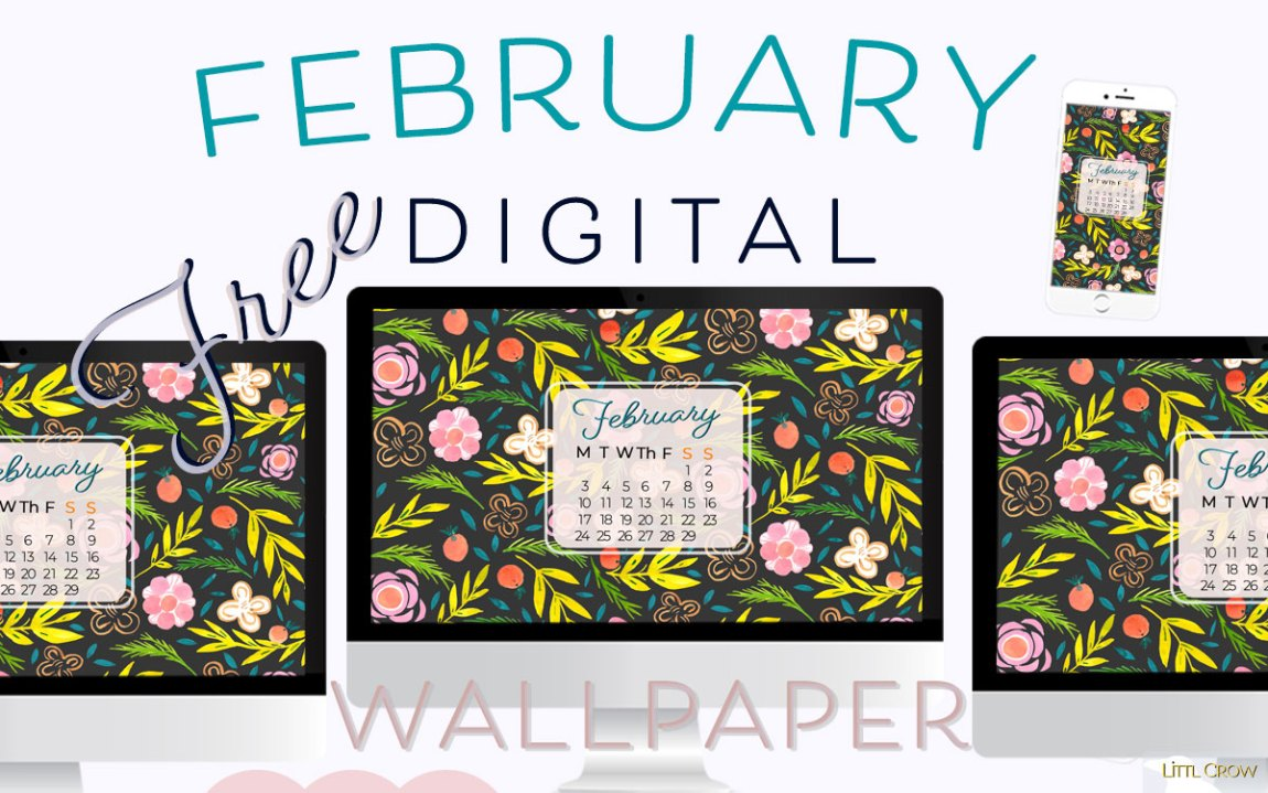 February gouache floral wallpaper calendar by Jimena Garcia (LittlCrow)