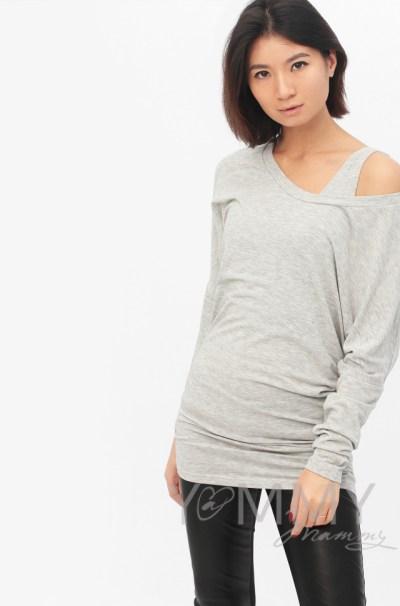 Блуза летучая мышь с топом светло-серый меланж