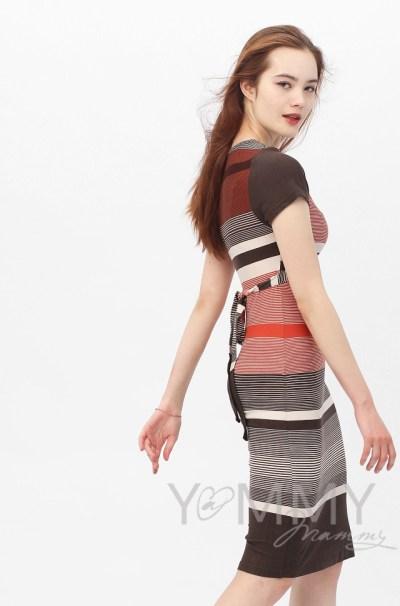 Платье с пояском теракот / коричневая / бежевая полоска