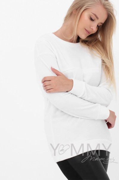 Джемпер флисовый белый