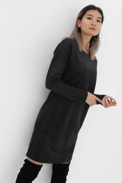 Платье замшевое графит