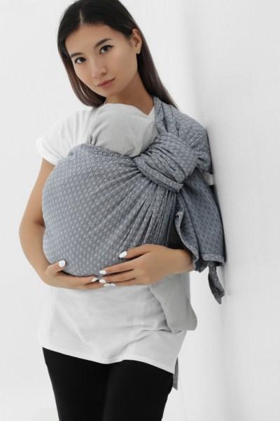 Слинг с кольцами из шарфовой ткани светло-серый/темно-серый