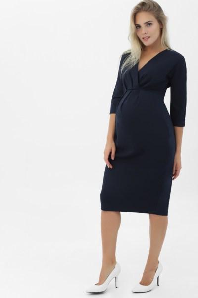 Платье для беременных со складками темно-синее
