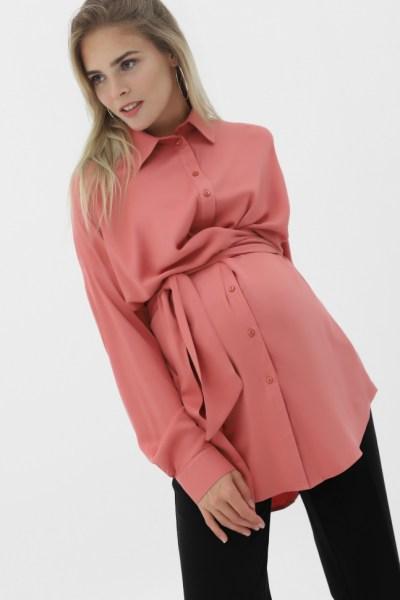 Рубашка с завязками пыльная роза