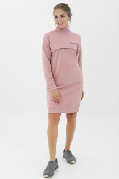 Платье с высоким горлом, с карманами, с принтом пудровое