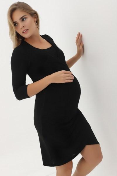 Платье с защипами черное