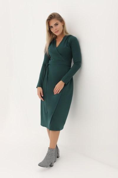 Платье миди на запах темно-зеленое