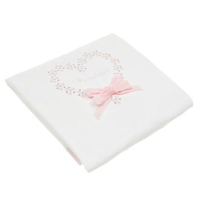 Белый плед с вышивкой и розовым бантом Aletta детский