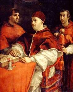 Портрет папы Лео X с двумя кардиналами. Рафаэль