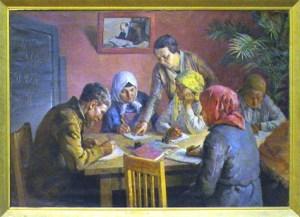 "Картина ""Ликбез"". Алексей Кокель. 1935 год"