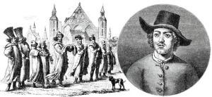 Великое посольство Петра I в Европу (1697-98 гг.). Справа портрет Петра в одежде матроса во время его пребывания в голландском Саардаме (Саандаме). Гравюры Маркуса. (1699)