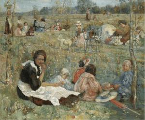 """Картина И.И. Бродского """"Нянька с детьми"""". 1912 год"""