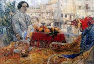"""""""Автопортрет с дочерью"""". 1911 год"""